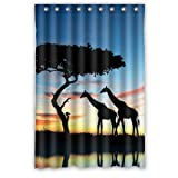 Fashion Design Waterproof Polyester Fabric Bathroom Shower Curtain Standard Size 48(w)x72(h) with Shower Rings - Africa Giraffe Animal Theme