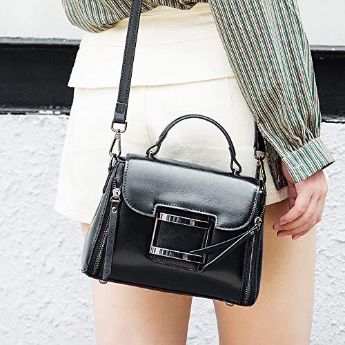 Borsa A Pelle Moda Casual Pelle Black Tracolla Tracolla In Cerata Con In Donna r1wrdq40
