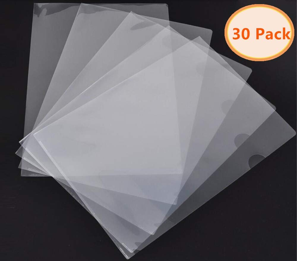 30Pcs L-Type Plastic Folder 18C Transparent Clear Document Folder for A4 Size Paper Sleeves