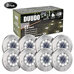 DUUDO Solar Ground Light, Newest 10 LED Garden Pathway Outdoor Waterproof in-Ground Lights, Disk Lights (Cold White, 8 Pack)