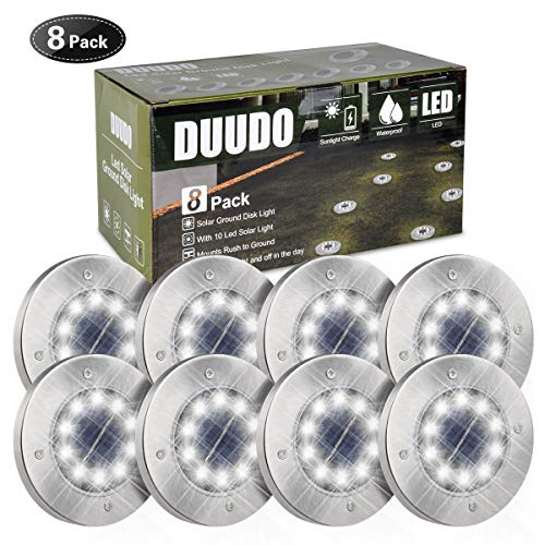 Solar Power Led Landscape Light - DUUDO Solar Ground Light, Newest 10 LED Garden Pathway Outdoor Waterproof in-Ground Lights, Disk Lights (Cold White, 8 Pack)