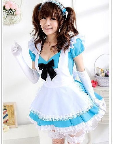 Madonna Famous Costumes (Maid Cosplay Costume High Quality Blue famous model Madonna Lily Shop Akihabara)