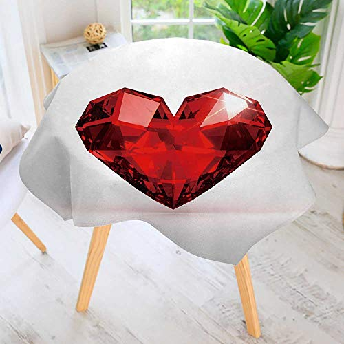 PRUNUS Spillproof Polyester Fabric Round Tablecloth-Realistic red Heart Shaped Ruby Gemstone on a Light Background Elegant Printed Table Cloth 47.5