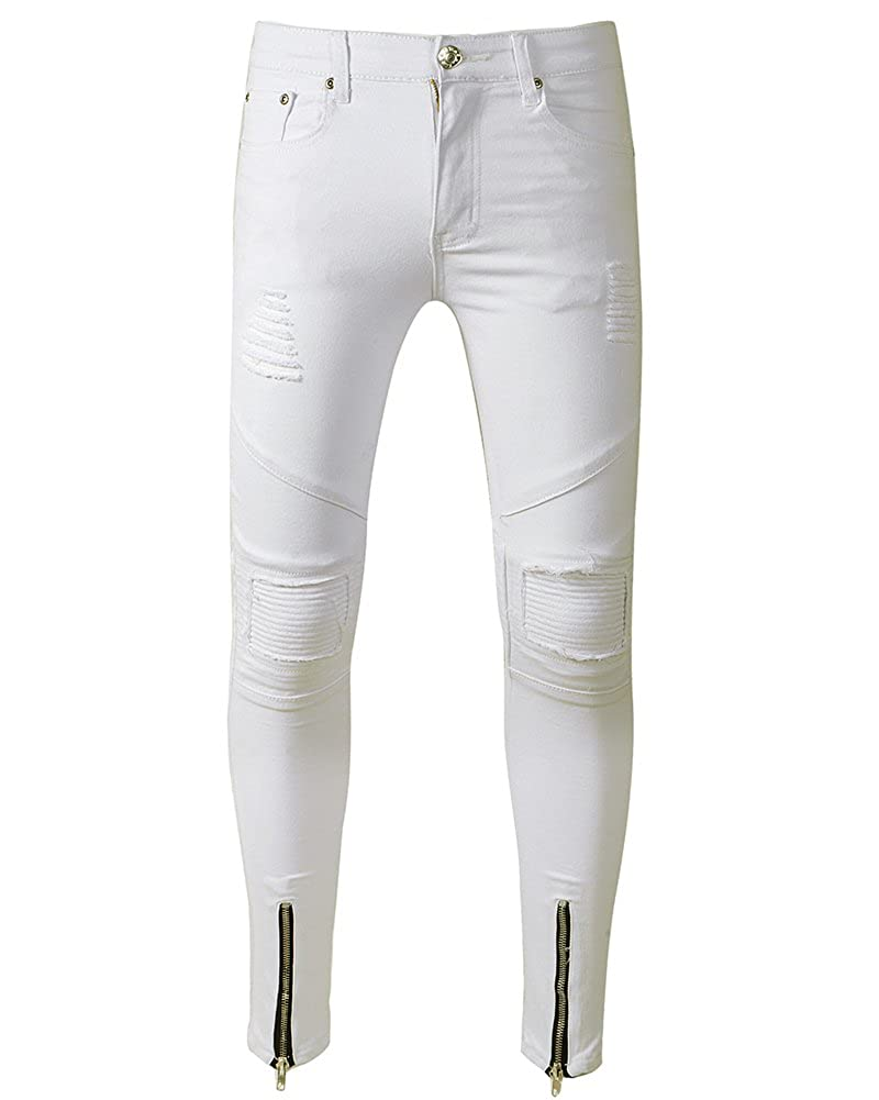 ZhuiKun Skinny Jeans Uomo Zipper Gambe Strappati Pantaloni Elasticizzati Distrutto Denim Pantaloni