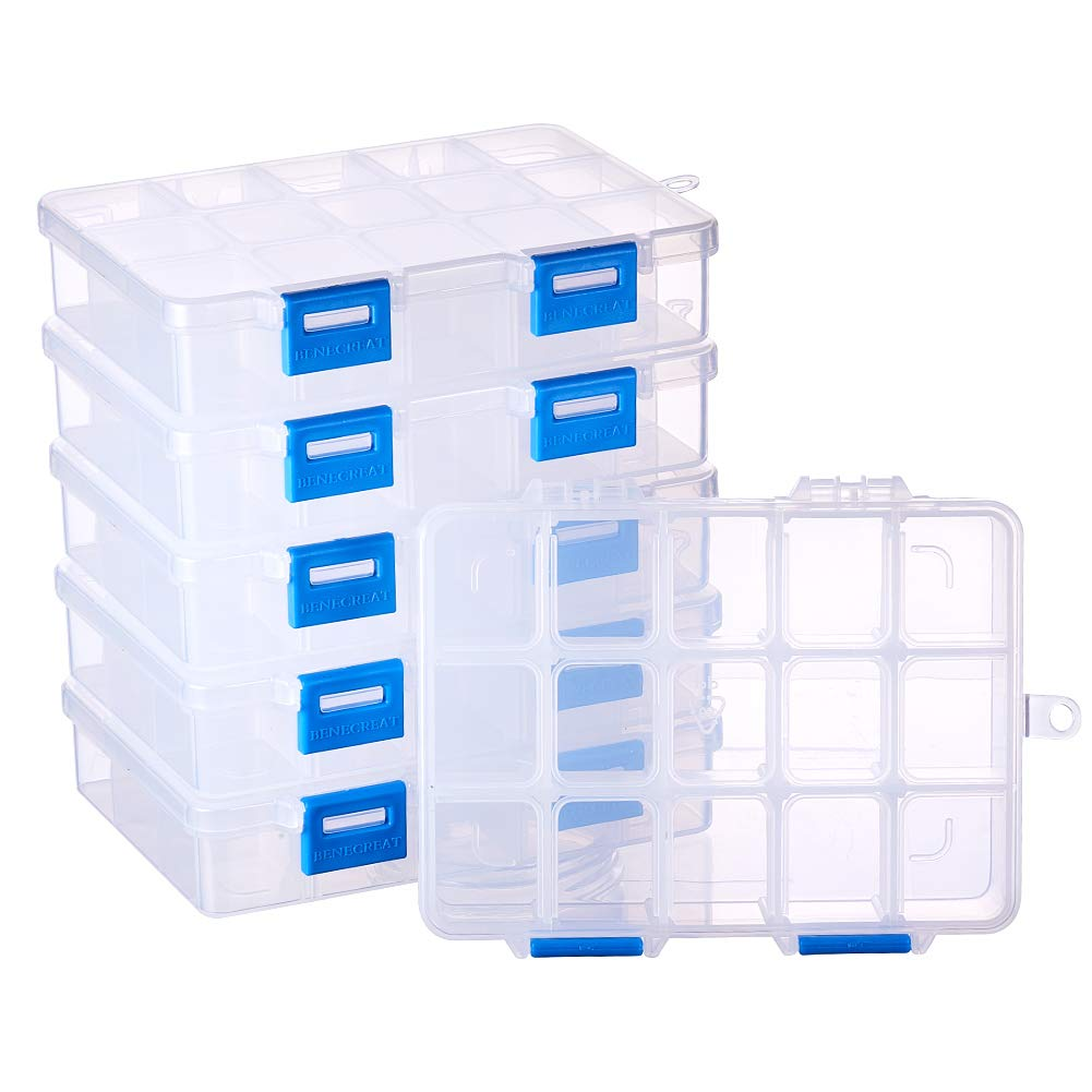 BENECREAT 5 Pack 18 Grids Jewelry Dividers Box Organizer Adjustable Clear Plastic Bead Case Storage Container 16.5x10x3cm, Compartment: 3x2.5cm CON-BC0001-03