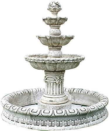 DEGARDEN Fuente Central Milán Tres Platos hormigón-Piedra Exterior 150X140cm. Color Ocre: Amazon.es: Jardín