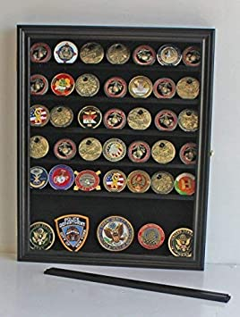 Challenge Coin Casino Chip Display Case Cabinet Holder Shadow Box, Glass Door, Black COIN56-BL