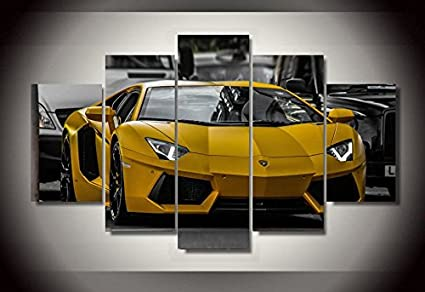 Amazon Com Lamborghini Yellow Car Print Canvas Decoration 5 Pieces