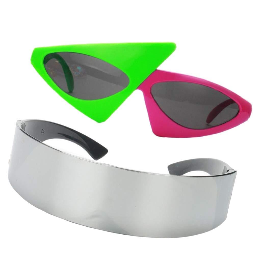 Paquete de 2 duraderas y /útiles Ogquaton Set de Gafas de Sol futuristas Cyclops y Gafas asim/étricas de los 80