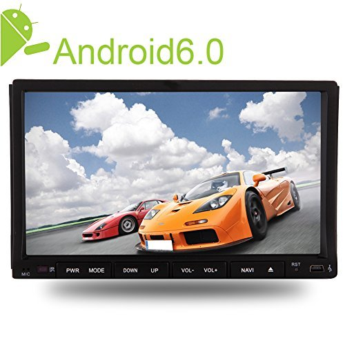 7inch Double Din Car Stereo with Latest Android6.0 Mashmallow with 16GB ROM Quad Core in Dash Car Navigation Support DVD CD 1080P Video Play Support Mirror Link/Steering Wheel/SD/Bluetooth/3G/4G/WIFI - Dual Lower Running Track