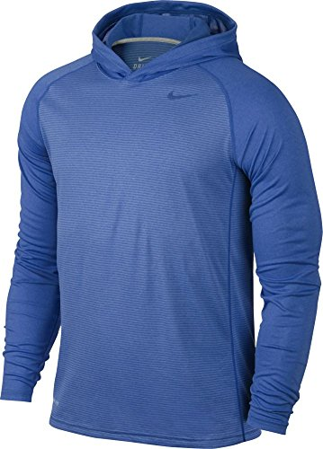 Nike Mens Dri-Fit Touch Hooded Long Sleeve Shirt Game Royal/Dark Grey 620636-480 Size 2X-Large