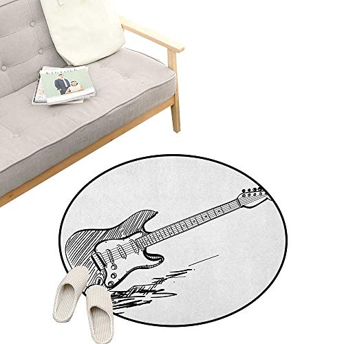 Guitar Round Area Rug Non-Slip ,Hand Drawn Style Electric Guitar on White Backdrop Rock Music Accords Sketch Art, Living Room Bedroom Coffee Table 39