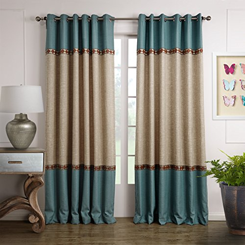 (Dreaming Casa Solid Curtains Polyester Window Treatment 2 Tone Stitching Design Luxury Style Blue (2 Panels) 52