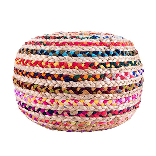 Knitted Round Pouf, Multi by Rugs USA