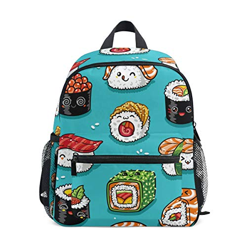 Cute Japanese Sushi School Backpack Canvas Rucksack Large Capacity Satchel Casual Travel Daypack for Kids Girls Boys Children Students, 3-8 Years Old -