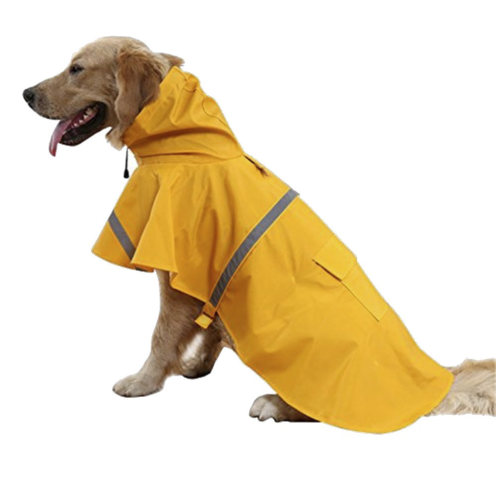 MiLuck Pet Dog Raincoat Lightweight WaterProof Clothes Rain Jacket Poncho Hoodies Adjustable With Strip Reflective(XL/Yellow)