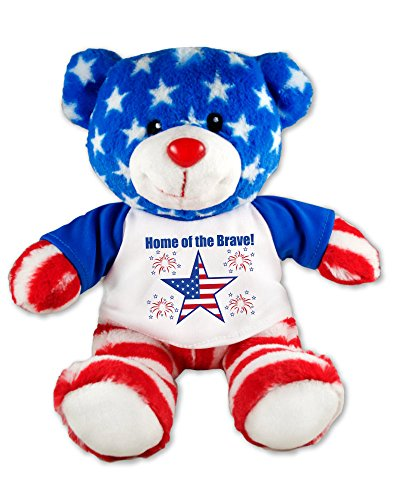 Flutter Hut Home of The Brave Patriotic Teddy Bear Plush Message T-Shirt 9 Inches (4th July Bear)