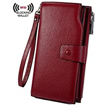 YALUXE Women's RFID Blocking Large Capacity Luxury Wax Genuine Leather Clutch Wallet Multi Card Organizer Wristlet Red