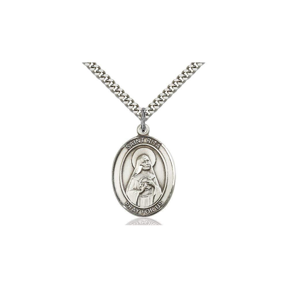 DiamondJewelryNY Sterling Silver St Rita of Cascia Pendant