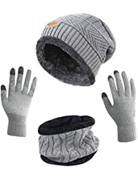 Winter Slouchy Beanie Gloves for Women Knit Hats Skull Caps Touch Screen