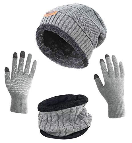 Wool Crocheted Hand - HINDAWI Winter Beanie Hat Scarf Gloves Set for Women Slouchy Snow Knit Skull Cap Infinity Scarves Touch Screen Gloves Mittens