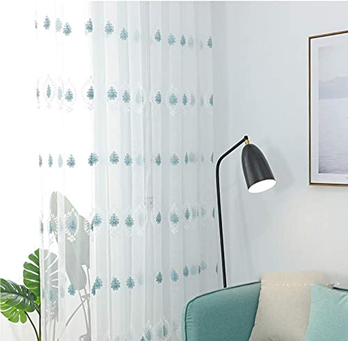 pureaqu Blue Floral Embroidered White Sheer Curtains 2 Panels Living Room Sliding Patio Door Leaves Design Grommet Transparent Lightweight Curtain Tulle Window Drapes