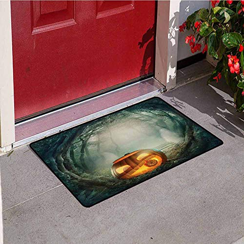 Jinguizi Halloween Inlet Outdoor Door mat Drawing of Scary Halloween Pumpkin Enchanted Forest Mystic Twilight Party Art Catch dust Snow and mud W19.7 x L31.5 Inch Orange Teal