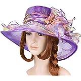 Vbiger Kentucky Derby Hats Church Hats Flat Hats Large Wide Brim Gauze Hat