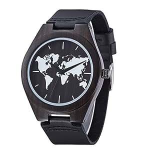 Sentai Men's World Map Wooden Watch, Handmade Natural Wood, Genuine Leather Strap(Black)