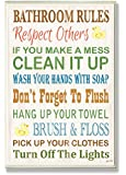 The Stupell Home Decor Collection Bathroom Rules Typography Rubber Ducky Bathroom Wall Plaque