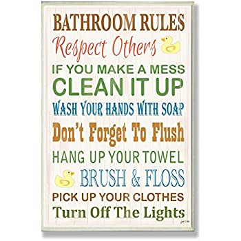 Quirky toilet rules bathroom wall plaque by for Bathroom decor rules