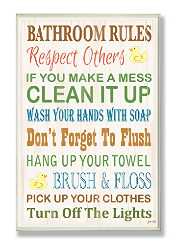 The Stupell Home Decor Collection Rules Typography Rubber Ducky Bathroom Wall Plaque, 12.5