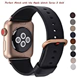 JSGJMY Apple Watch Band 38mm Women Black Genuine Leather Loop Replacement Wrist Iwatch Strap with Series 3 Gold Metal Clasp for Apple Watch Series 3 Gold Aluminium