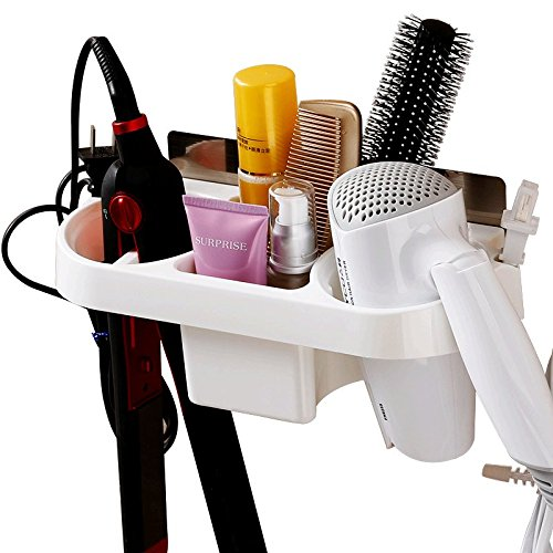 (durianner Bathroom Hanging Rack Storage Organizer Accessories for Blow Dryer, Curl Iron, Hair Straightener, Brushes Stand Hair Dryer Holder)