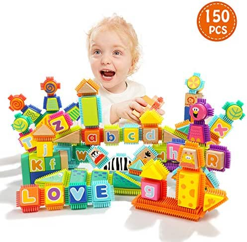 TOP BRIGHT Block Toy for Toddlers - Wooden Building Blocks for 1-3 Year Old -150 Piece