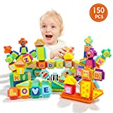 TOP BRIGHT Block Toy for Toddlers - Wooden Building Letter...