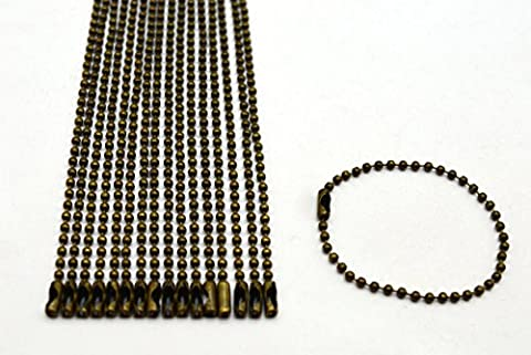 Amanaote Bronze 2.4 mm Diameter Ball Chain 150 mm Length Metal Bead Chain for Pendant Pack of 30 (Dog Tag Chain Packs)
