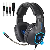 SADES SA818 Xbox One PS4 PC Gaming Headset Gaming Over Ear Headphones with Mic for PS4, PS4 PRO, Xbox One, Xbox One S,Laptop Mac Tablet iPhone iPad iPod(Black&Blue)
