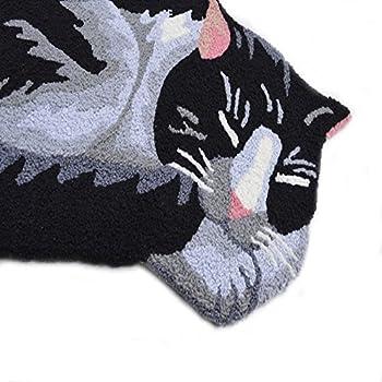 Abreeze Black Cute Sleeping Cat Shaped Bedroom Area Rug,Tabby Cat carpet