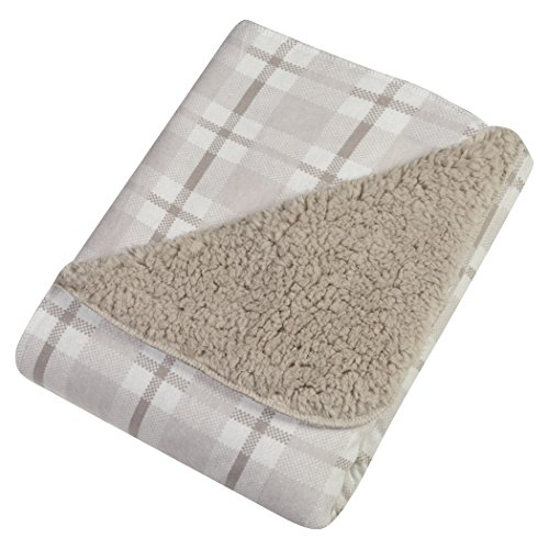 Cotton Shearling Blanket - Trend Lab Gray and White Plaid Faux Shearling Blanket