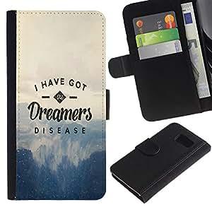 LECELL--Cuero de la tarjeta la carpeta del tirón Smartphone Slots Protección Holder For Samsung Galaxy S6 -- DREAMERS ENFERMEDAD TIPOGRAFÍA --