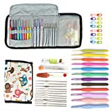 Leegoal Crochet Hooks Set, 38 PCS Premium All-in-One Color Soft TPR Handle Aluminum Hook Crocheting Kit Knitting Tools Accessories Case, Ergonomic Handle Crochet Hooks Needles Arthritic Hands