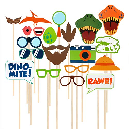 (Dinosaur Photo Booth Props 20 Pcs DIY Kits Wedding Reunions Birthday Party Decorations Supplies Costumes Dress-up Accessories & Party Favors Selfie)