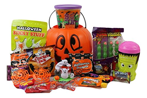 Happy Halloween Gift Pumpkin Basket!!! Toys and Candy BOO!!! FILLED TO THE TOP!! (Halloween Finger Food For Adults)