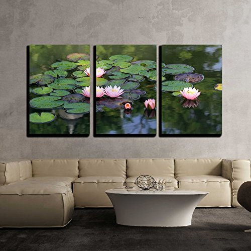 wall26 - 3 Piece Canvas Wall Art - Beautiful Lotus Flower in the Pond - Modern Home Decor Stretched and Framed Ready to Hang - 16