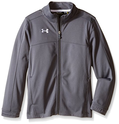 Under Armour Boys' Futbolista Soccer Track Jacket, Graphite /White, Youth Medium