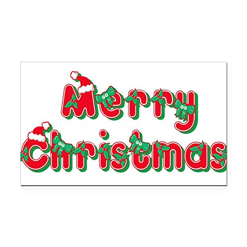 CafePress - merry christmas 23.png Rectangle Car Magnet - Rectangle Car Magnet, Magnetic Bumper Sticker