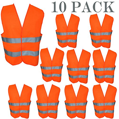 ZOJO High Visibility Safety Vests,Adjustable Size,Lightweight Mesh Fabric, Wholesale Reflective Vest for Outdoor Works, Cycling, Jogging, Walking,Sports - Fits for Men and Women (10 Pack, Neon Orange)