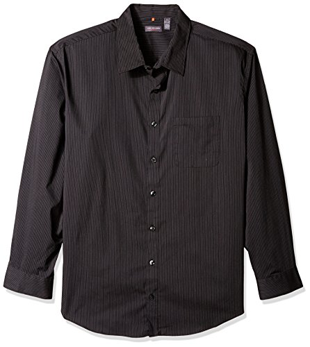 Van Heusen Men's Size Big and Tall Traveler Stretch Long Sleeve Button Down Black/Khaki/Grey Shirt, Stripe, 2X-Large]()