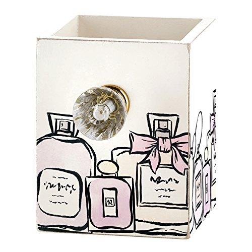 (Santa Barbara Design Studio Vintage Perfume Bottle Design 3 x 3 Inch Wood Pen Brushes Holder Box)